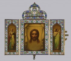 Triptych Showing the Head of Christ, St. Nikholai, and the Guardian Angel