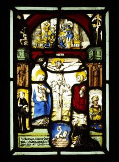 Crucifixion scene with kneeling monk