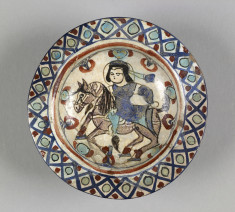 Bowl with Horseman Figure in Center and Diaper Pattern
