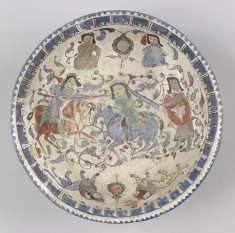 Bowl with Fighting Horsemen, Armed Figures, and Sphinx