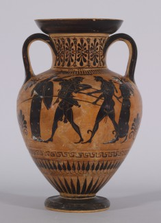 Neck Amphora with Herakles and Apollo Fighting Over the Delphic Tripod