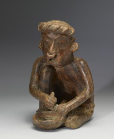 Polychrome Seated Old Female Figure with Bowl
