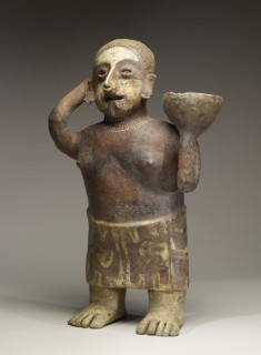 Polychrome Standing Female with Bowl on Shoulder