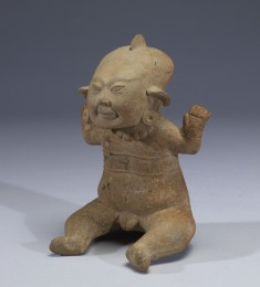 Seated Nude Male Smiling Figure with Upraised Arms