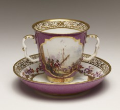 Cup and Saucer with Shipping Scenes