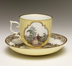 Cup and Saucer with Figures in Middle Eastern Dress