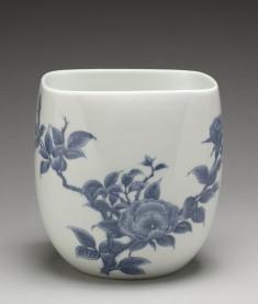"""Fresh Water Jar (""""Mizusashi"""") with Branch of Roses"""