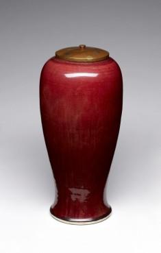 Red Baluster-Shaped Vase