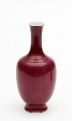 Famille Rose Oviform Vase with Slender Neck