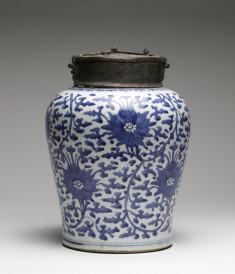 Jar Painted with Peonies