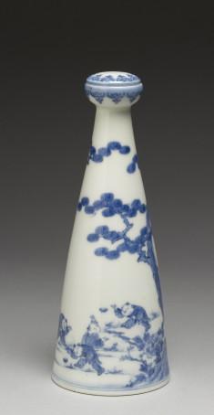 """Sake Bottle (""""Tokkuri"""") with Boys Chasing Butterflies"""