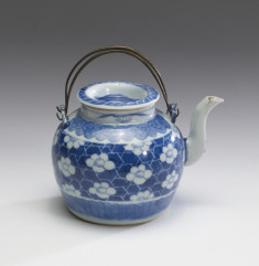 Teapot with Plum Blossoms and Geometric Designs
