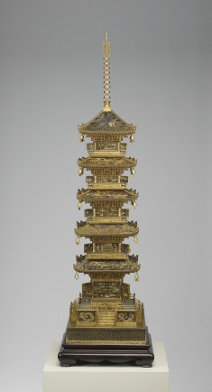 Okimono of a Pagoda with Famous Scenes