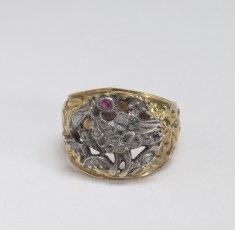 Ring with a Ruby-Eyed Bird