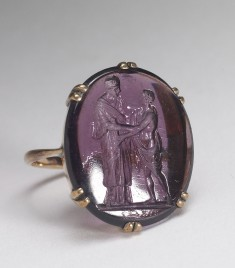 Ring with Glass Paste Intaglio of Two Figures in Classical Dress