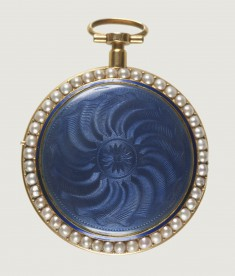 Watch with a Guilloché Case with Pearls
