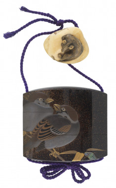 Inro with Two Sparrows on Bamboo with Netsuke of a Rat on a Clam Shell