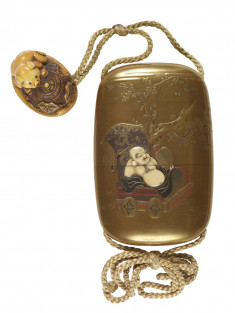 Inro with Hotei, Crane, and Children; Netsuke of a Puppy, Gourd Vine, and Straw Snow Protector