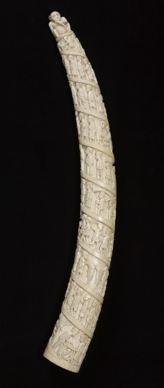Elephant Tusk with Scenes of African life