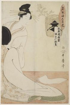 The Courtesan Hanazuma of the Hyōgoya and Kenbishi Sake by Sakagami