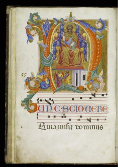 Initial N with Saint Peter Enthroned and the Liberation of Saint Peter