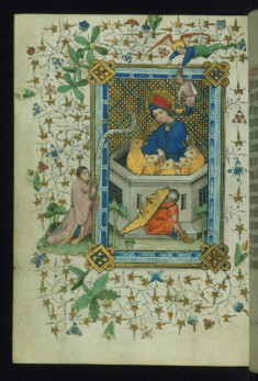 Leaf from Book of Hours of Daniel Rym: Saint Daniel in the Lions' Den Revered by the Manuscript Owner Daniel Rym