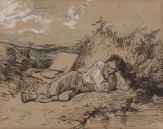 Young Artist Asleep by a Stream