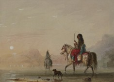 Indian and His Squaw Fording a River