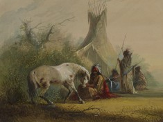 Shoshone Indian and his Pet Horse
