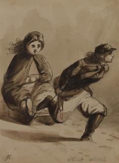 Street Sketch. Boy Gallantry