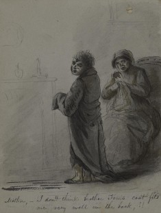Mother and Son by Fireplace
