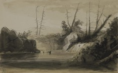 View of a Falls and Small Lake