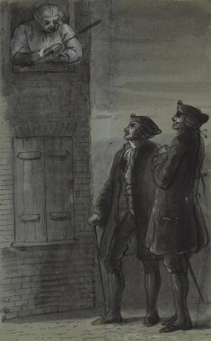 Johnson Addressing Two Men from Window (from James Boswell, Life of Samuel Johnson, 1791)