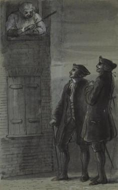 Johnson Addressing Two Men from Window (from James Boswell, Life of Samuel Johnson, 1791)