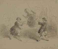 Three Children Playing with a Swing