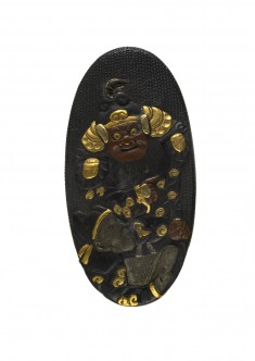 Kashira with a Warrior and Attendant