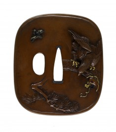 Tsuba with a Hawk Stalking a Monkey