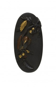 Kashira with Bird on Oak Tree Branch
