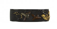 Fuchi with Sparrows and Autumn Flowers