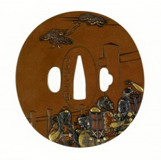 """Tsuba with Benkei at the Barrier Gate, from the Play """"The Subscription List"""""""