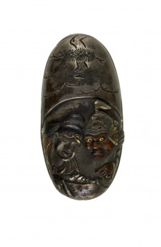 Kashira with Two Figures Reading a Scroll