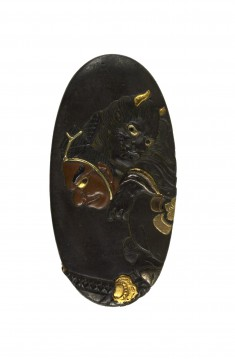 Kashira with Ômori Hikohichi Carrying a Demon Across a Stream