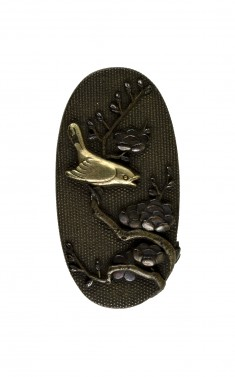 Kashira with a Nightingale on a Plum Tree Branch