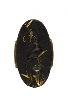 Kashira with Swallow and Morning Glory