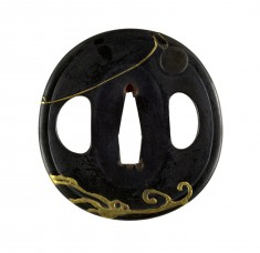 Tsuba with Gold Waves
