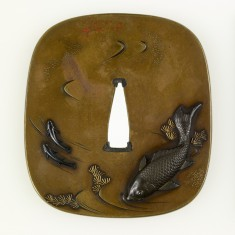 Tsuba with a Large Carp and Two Small Fish