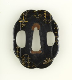 Tsuba with Abstract Plant Motif