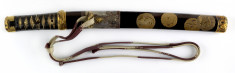 Dagger (aikuchi) with mythological animals in lacquer and metal mountings of chickens (includes 51.1200.1-51.1200.3)