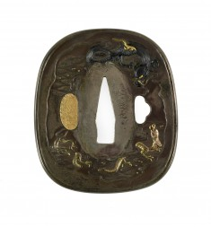 Tsuba with Dragons and Clouds