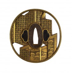 Tsuba with a Pair of Folding Screens